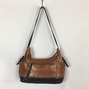 The Sak Shoulder Brown Leather Satchel Hobo Bag